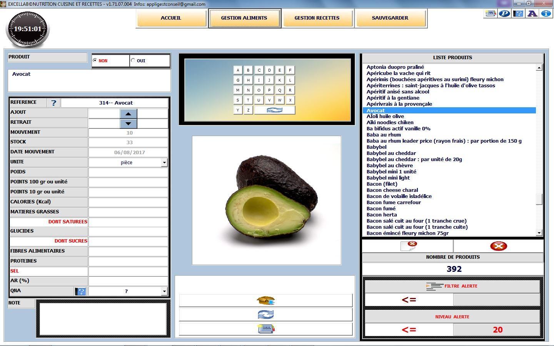 Xls Application Excel Pour La Gestion Nutrition Cuisine Et