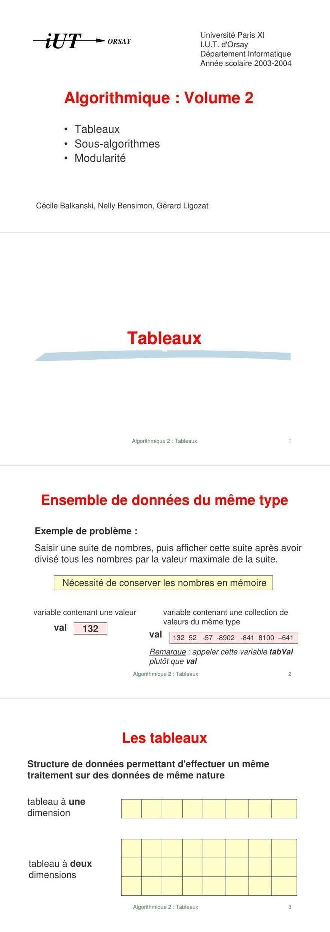Pdf Cours Algorithme Sur Les Tableaux En Pdf Cours Informatique