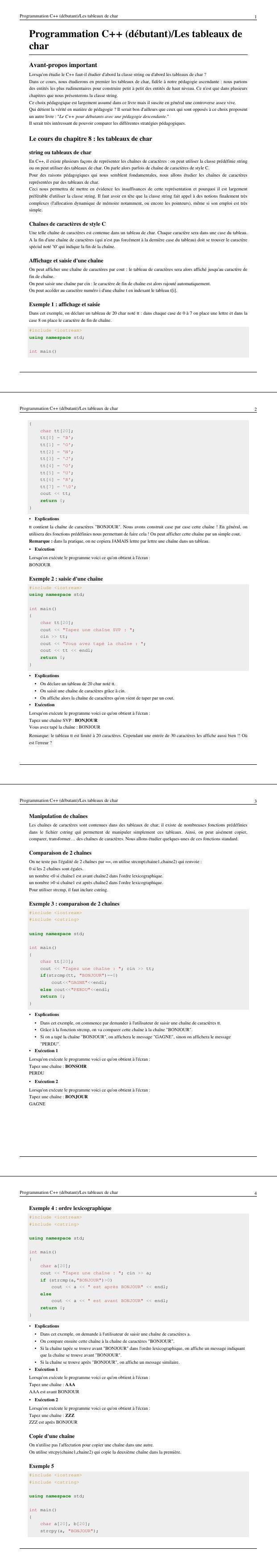 Pdf Programmation C Les Tableaux De Char Cours Informatique