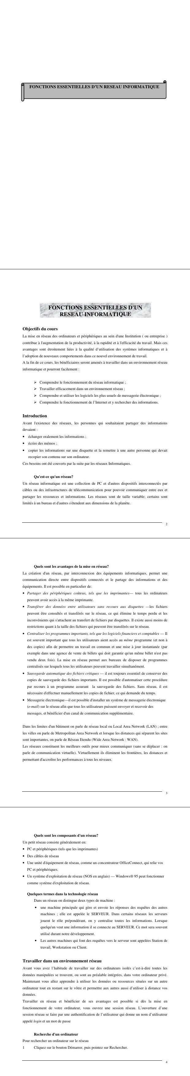 Pdf Fonctions Essentielles D Un Réseau Informatique Cours