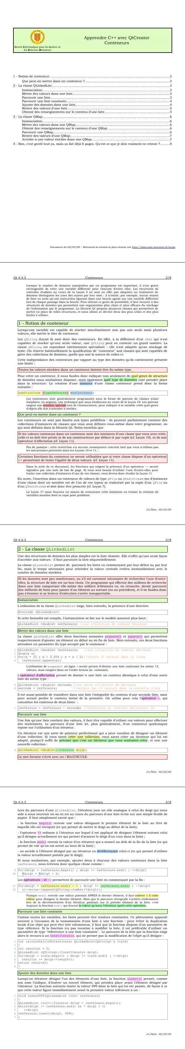 Pdf Cours Qtcreator Et C Les Conteneurs Formation Informatique