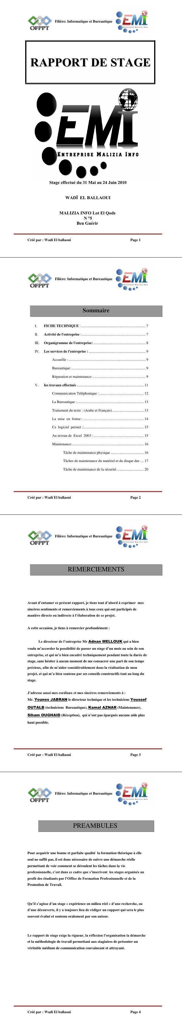 Pdf Exemple Rapport De Stage Informatique Bureautique Ofppt