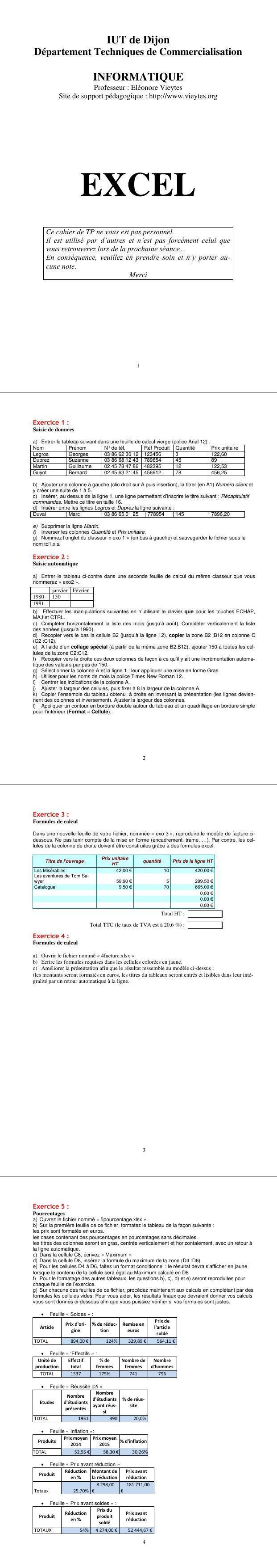 Pdf Exercices Et Travaux Pratiques Excel 2019 Pdf Cours
