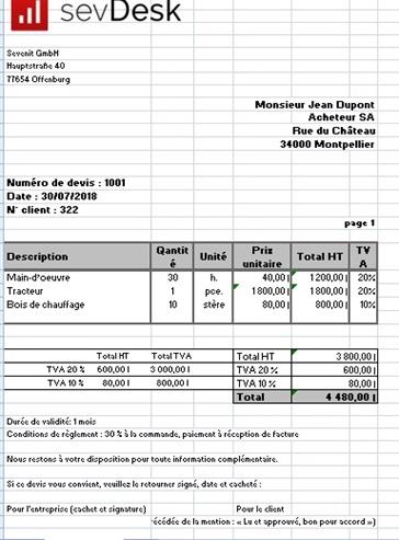 Xls Modèle Excel De Devis De Prestations Et Services à