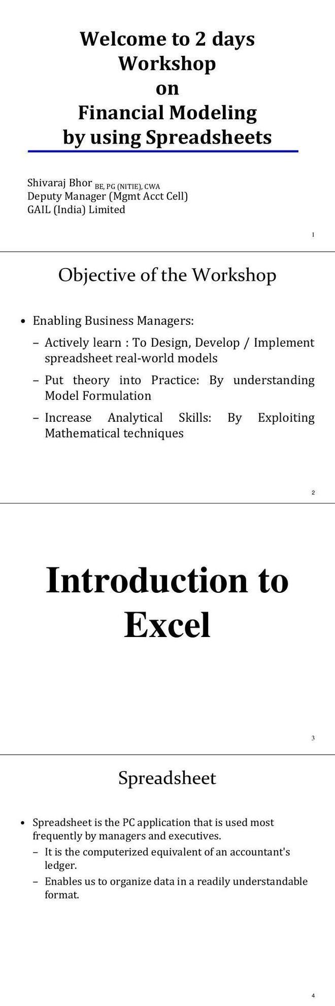 PDF] EXCEL training workshop on Financial Modeling - Free