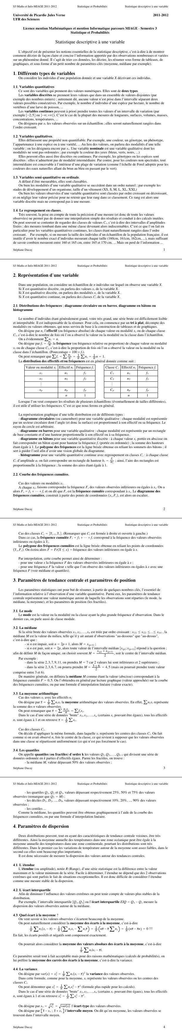 Pdf Cours Complet Sur La Statistique Descriptive A Une Variable Cours Statistique