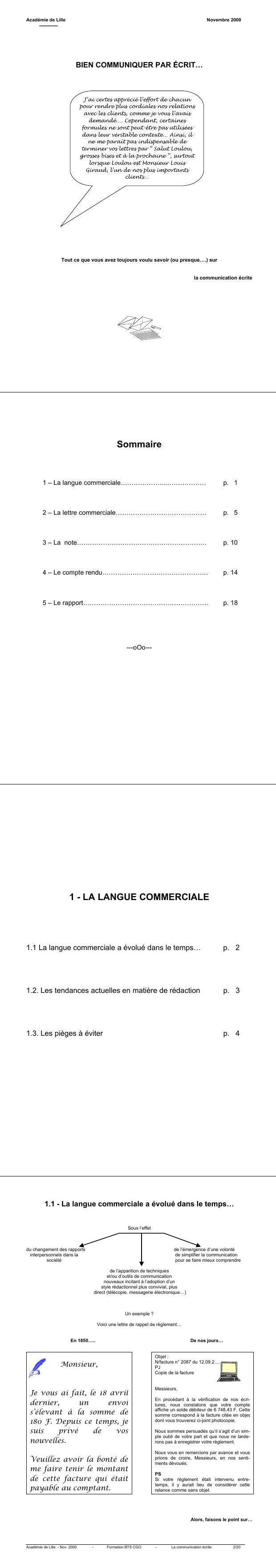 Pdf Support De Cours Lettre Commerciale Francais Cours