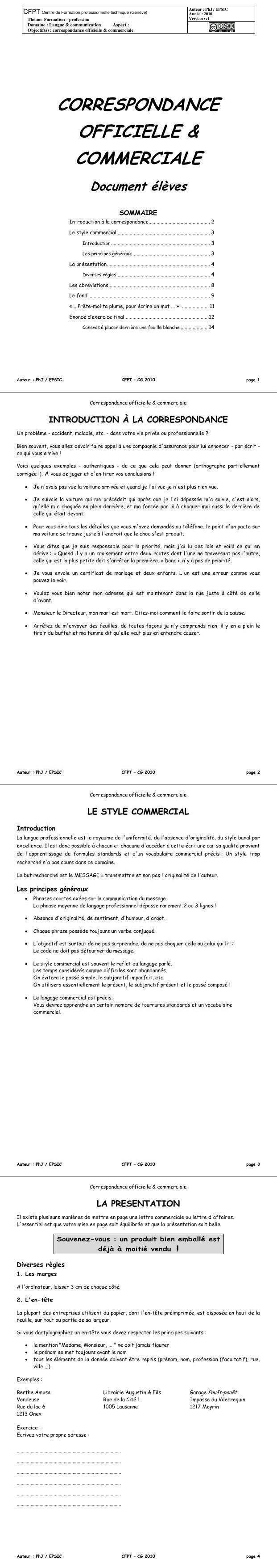 Pdf Cours D Introduction A La Correspondance Commerciale