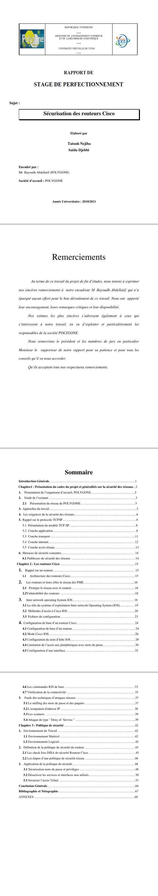 Pdf Rapport De Stage Reseaux En Pdf Cours Informatique