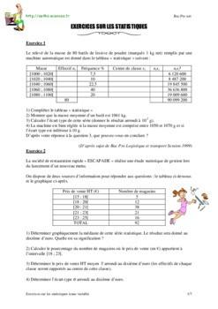 Pdf Exercices Sur Les Statistiques A Une Variable Bac Pro Cours Statistique