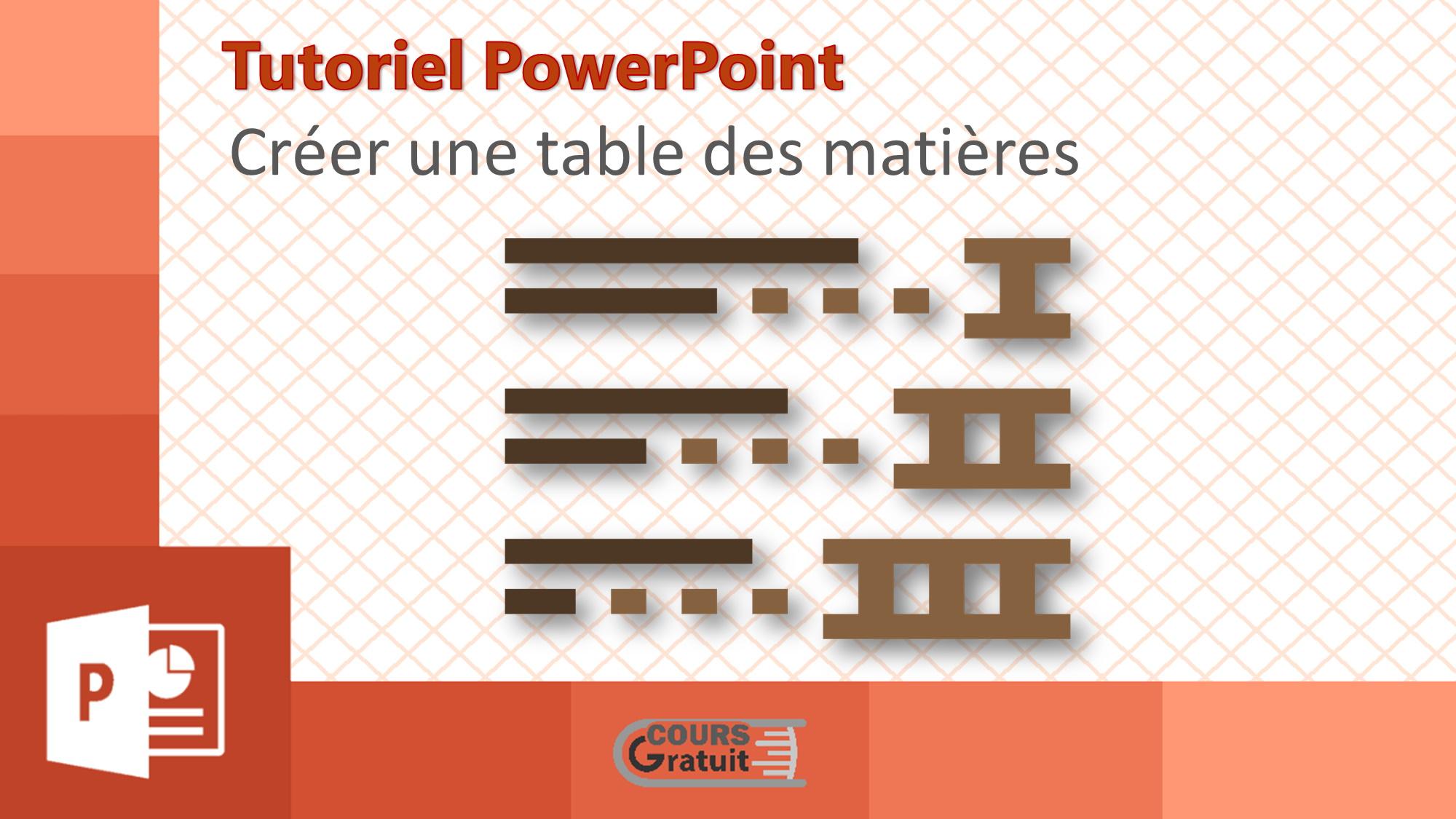 Comment créer une table des matières pour une présentation PowerPoint