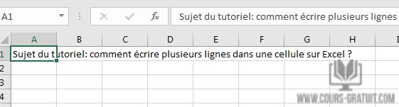 Comment écrire Plusieurs Lignes Dans Une Cellule Sur Excel