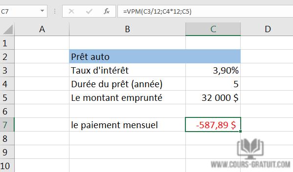 Calcul Financement Auto >> Tutoriel Excel Comment Calculer Le Pret Hypothecaire